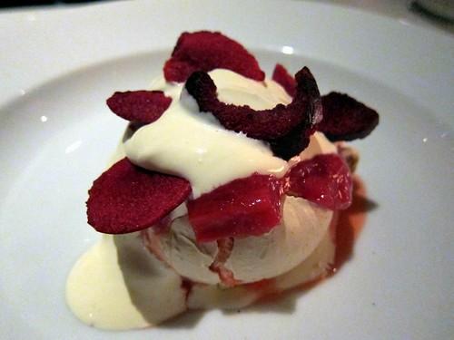 Feijoa meringue, rhubarb & plum compote, crème fraiche