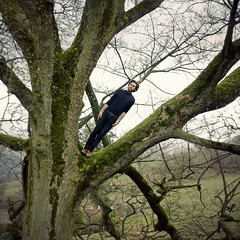 To save the world or go to work (STCM) Tags: man tree nature pose climb natural none side country stephen tc morris tilt leaning stcm