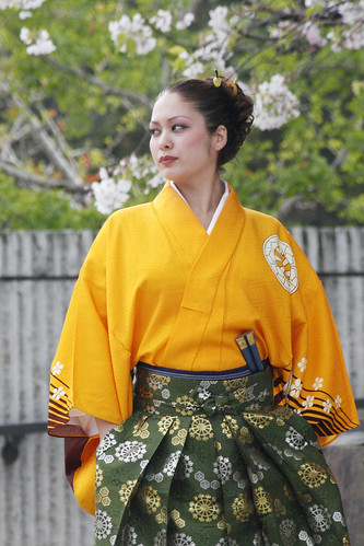Japanese Beauty in Yellow Kimono