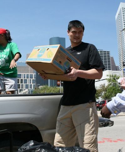 March 31st, 2011 - Yao Ming helps out at the Rockets annual Recylefest at Toyota Center in downtown Houston