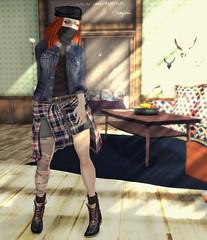 hiding out (THEMA.FELIX) Tags: house cute home girl field fashion blog felix ninja avatar secondlife plaid beret lumberjack thema themafelixcom