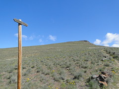 Another marker pole on Yakima Skyline trail with a horse trail sign.