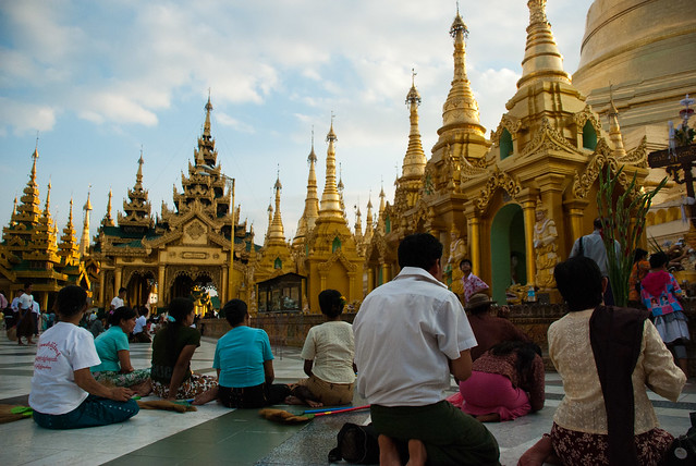 People Praying at Shwedagon Pagoda, Yangon, Myanmar