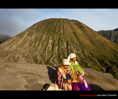 Two Ladies and Mount Batok (jean-marc rosseels) Tags: people color canon indonesia volcano java eastjava mountbatok