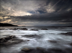Roshven Beach (angus clyne) Tags: light sea cliff mist seascape storm west art rock night dark len
