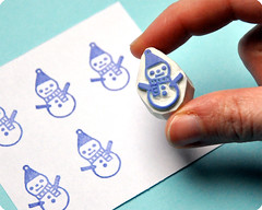 Snowman hand carved rubber stamp