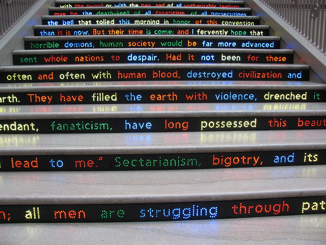 Words from Swami Vivekananda's 1893 Speech on the Grand Staircase Steps at the Art Institute of Chicago