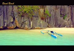 On the Shore (Jen3nidad) Tags: blue sea tree beach water rock boat dock sand philippines shore coron emerald palawan g11