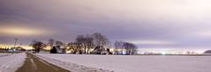 night snow (davedehetre) Tags: trees light sky snow storm night clouds landscape pollution be there gravel brewin a