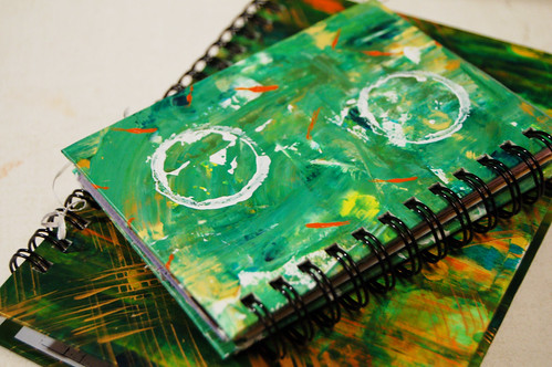 Two green sketchbooks