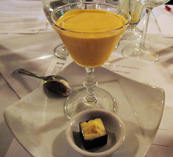 Mango Mousse with Xoxolat Creme brulee chocolate