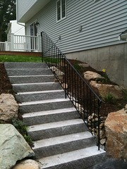 Custom rail on granite steps