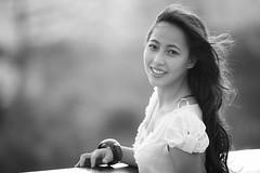[フリー画像] 人物, 女性, アジア女性, モノクロ写真, ベトナム人, 201102170900