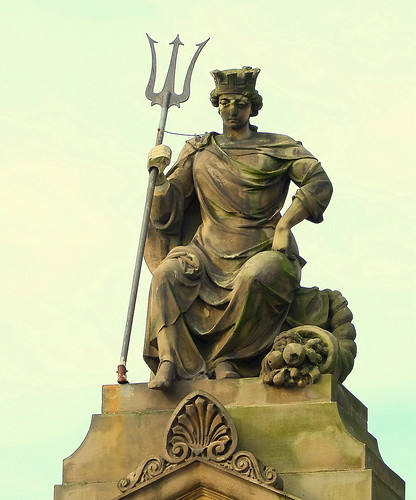 Statue With A Trident On The HSBC Bank Lord Street Southport