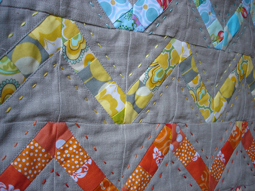 Doll quilt stitching detail