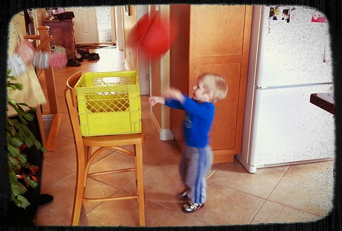 Jacob with his improvised basketball hoop
