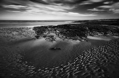 Low Tide (Ger208k) Tags: longexposure sea dublin seascape beach clouds blackwhite monotone lowtide malahide lowrock leebigstopper