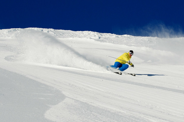 Bob rips down groomers on Schweitzer Mountain