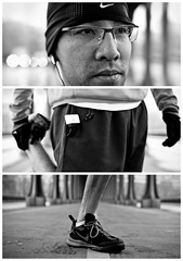 Triptychs of Strangers #2: The Leg-Stretcher, Paris (adde adesokan) Tags: street travel bridge portrait blackandwhite bw white black paris hat seine pen photography glasses eyes shoes triptych boots bokeh buttons voigtlander voigtlaender streetphotography grau olympus stranger portrt nike ring josh puzzle sw mann brille augen runner schwarzweiss brcke weiss schwarz mtze voigtlnder jogger 25mm triptic ep1 tryptic ritter haare triptychs f095 lufer streetphotographer m43 triptychon mft mirrorless triptychons 100strangers microfourthirds theblackstar mirrorlesscamera streettogs triptychonsofstrangers triptychsofstrangers