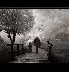 Generations (h.koppdelaney) Tags: life old bridge bw man art home digital photoshop way symbol young picture son philosophy grandpa teacher grandson elderly duality crow metaphor raven generation psyche symbolism psychology archetype strict koppdelaney