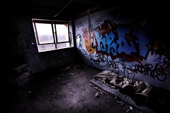 Homeless persons bed! (dangrahamphotography) Tags: uk blue shadow urban white photoshop canon dark newcastle graffiti bed p