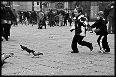 Children vs Pigeons (Lucx90) Tags: venice bw italy white holiday black st canon square eos san child mark pigeon tourist marco 500d