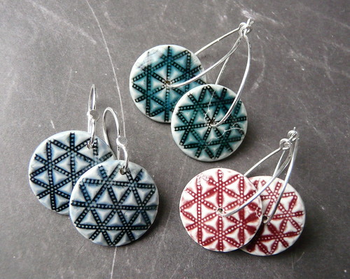 Porcelain & Sterling earrings