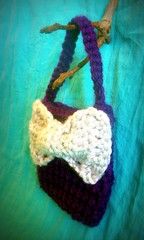 tiny bow tie bag in plum and fog, side view (backporchmoon) Tags: bag bow tinybag crochetfebruaryvi