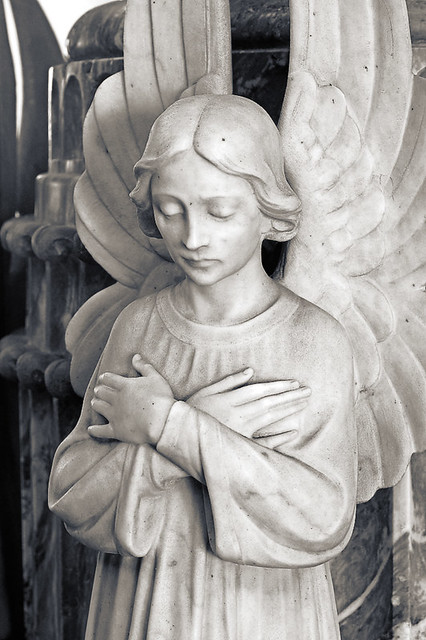 Calvary Cemetery, in Saint Louis, Missouri, USA - detail of angel in main mausoleum