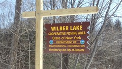 Sign for Wilber Lake (near Laurens, NY) by JuneNY