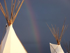 Rainbow Teepees (ndn.chick) Tags: rainbow nativeamerican darksky teepees ndnchick
