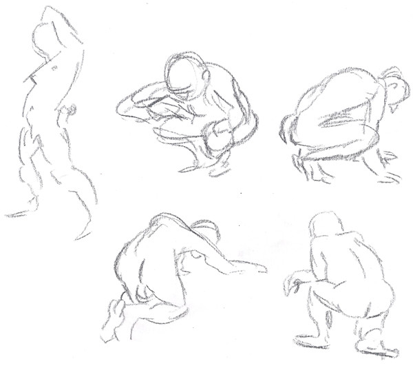 Gesture Drawing - Squat and Stretch 01