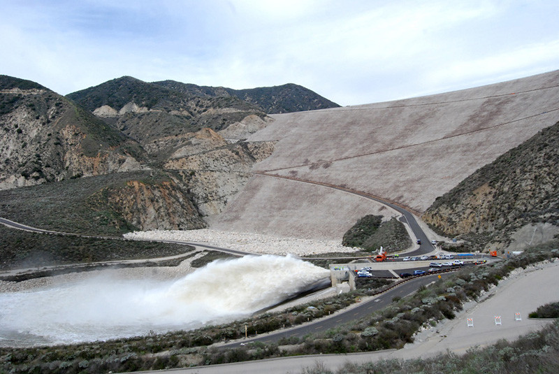 Seven Oaks dams releases water during high pressure release test