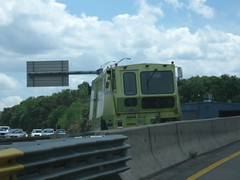 "MassHighway ""zipper truck"" preparing to start moving the HOV lane into place (MassHighway Man) Tags: highway massachusetts highwaydepartment statehighway hovlane highwaymedian masshighway massdot zipperlane"