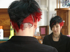 dark hair red highlight cat design (wip-hairport) Tags: haircut cat design with salon motor lisbona hairport