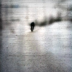 Winter cyclist 2 (Anders Uddeskog) Tags: cameraphone iris winter urban snow art texture bicycle silhouette mobile espoo finland phone cellphone minimal mobilephone iphone phoneography iphoneart iphoneography iphone3gs blurfx