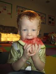 IMG_7373 (drjeeeol) Tags: baby charlie toddlers triplet watermellon 2011 29monthsold