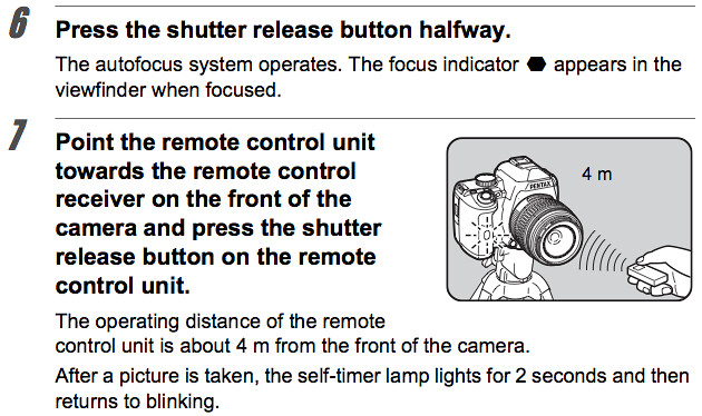 Pentax K-r Manual -- Shooting with remote control