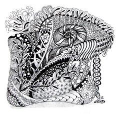 ZT-019-Snails Throne (Sande VB LaFaut) Tags: quilt zia penandink zentangle fabricdrawing tangleddrawings