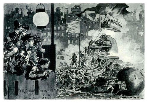 018-Revolucion de 1953-defensa de las barricadas-Le Vingtième Siècle 1883- Albert Robida