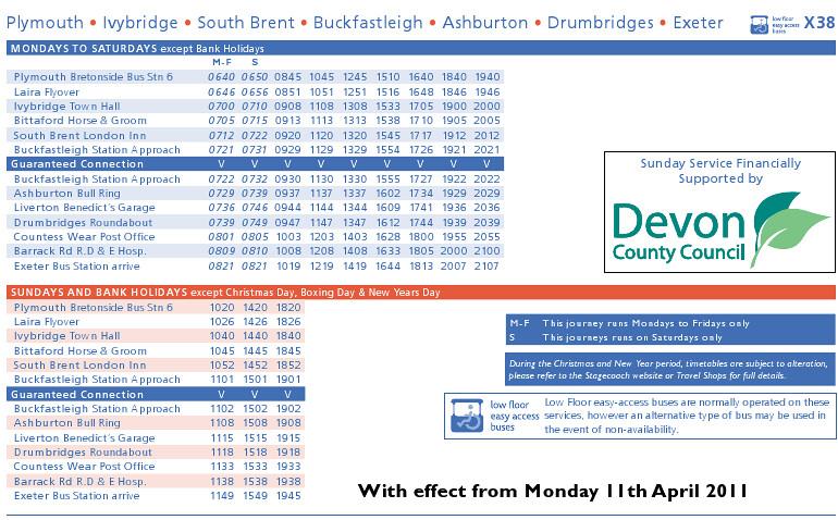 X38 Timetable