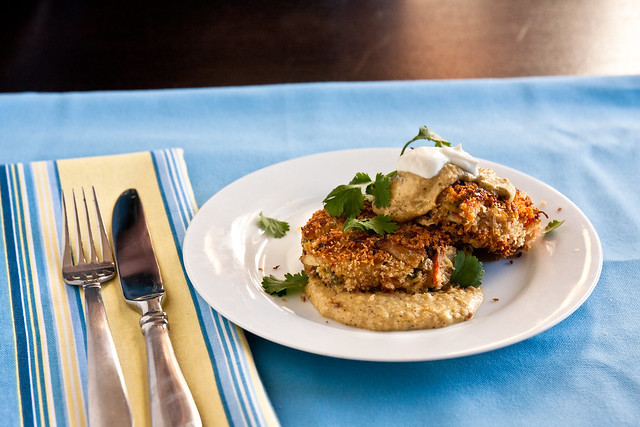 Green Chile Crab Cakes with Tomatillo Salsa