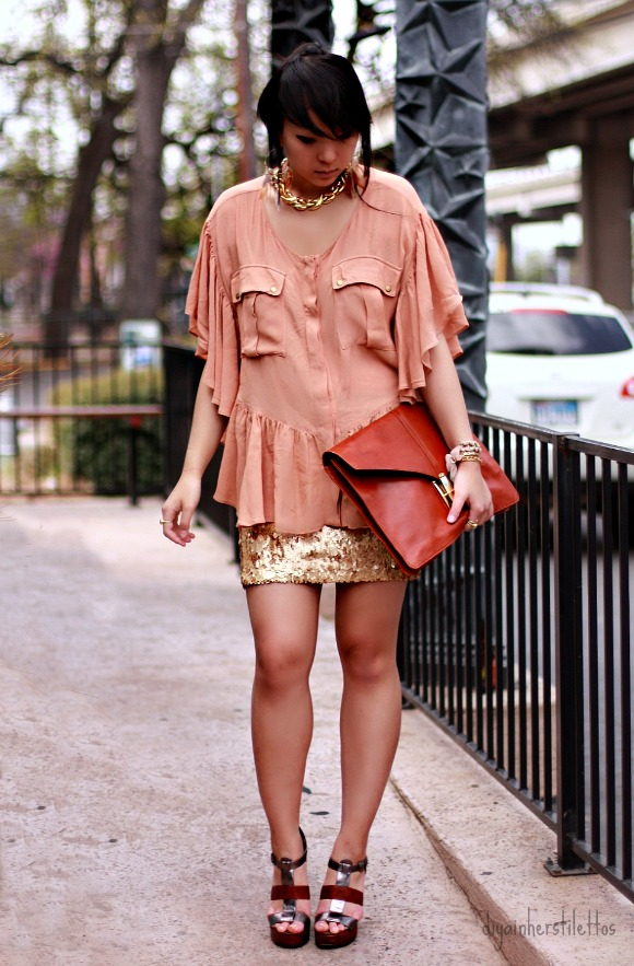shakuhachi daytripper coral blouse, charlotte russe gold sequin skirt, dolce vita shoes, garage sale chunky gold necklace, forever 21 feather hoop earrings