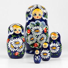 Bouquet of Daisies Blue Nesting Doll (The Russian Store) Tags: matrioshka matryoshka russiannestingdolls  stackingdoll  russianstore  russiangifts  russiancollectibledolls shoprussian
