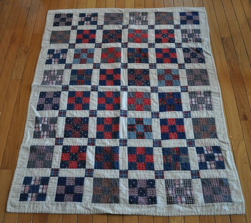 red/blue 9-patch baby quilt