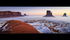 Sunrise in Monument Valley - Arizona (Dominique Palombieri) Tags: arizona usa snow fog sunrise landscape utah flickr fav50 fav20 dominique monumentvalley fav30 11mm 100iso 2011 fav10 fav40 fav60 canoneos7d visipix 18secatf80 lens1116mm palombieri mayoznico mayozdom