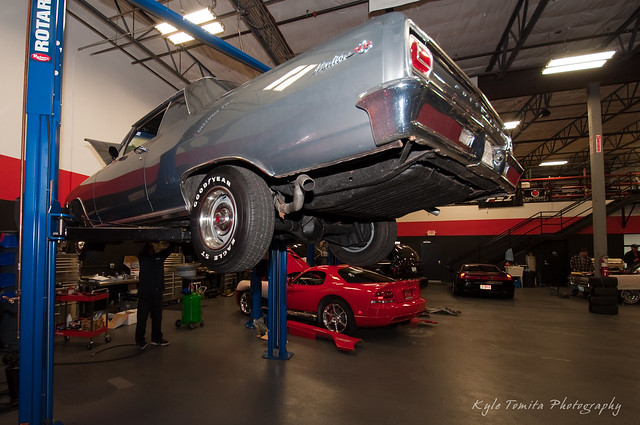 65 Chevy Malibu SS on lift at PSI