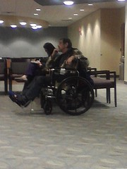 Sittin' and Waitin' (I'd Like to Photograph You!) Tags: man broken room wheelchair leg wait