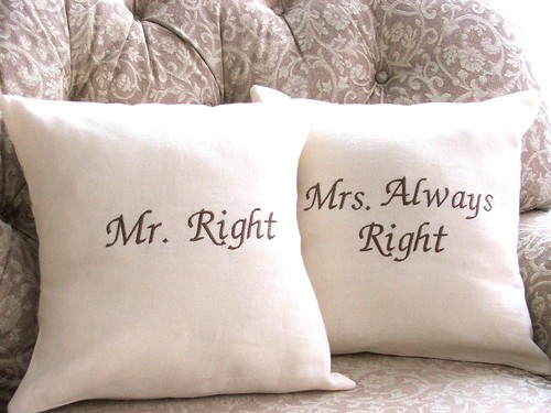Mr. Right and Mrs. Right Decor Pillows from YellowBugBoutique