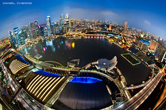 Planet Singapore (DanielKHC) Tags: city bridge blue sea 2 water museum night digital marina reflections lights bay high nikon singapore long exposure cityscape dynamic district central casino fisheye business explore hour esplanade planet cbd helix sands range dri hdr mbs blending skypark d300 nikkor105mmf28 artscience danielcheong danielkhc